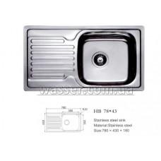 Кухонная мойка Haiba 780X430 сатин