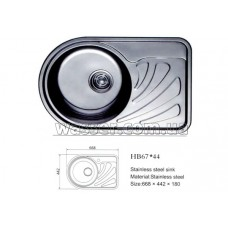 Кухонная мойка Haiba 670X440 микродекор (левая чаша)