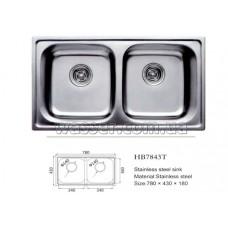 Кухонная мойка Haiba 780X430 Double сатин