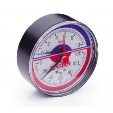 Термо-Манометр Koer аксиальный 802A 10 bar, D=80мм, 1/2''