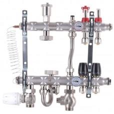 """Коллектор Koer KR.S1012-02 со встроенным смесительным узлом 1""""х2 SUS304 и евроконусами 3/4-16"""