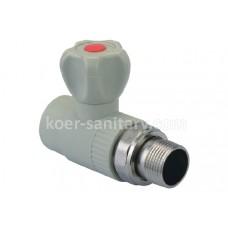 Кран ПП Koer радиаторный прямой 20x1/2