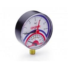 KOER Термо-Манометр радиальный 801R 6 bar, D=80мм, 1/2''