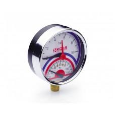 KOER Термо-Манометр радиальный 821R 10 bar, D=80мм, 1/2''