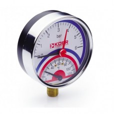 KOER Термо-Манометр радиальный 821R 6 bar, D=80мм, 1/2''