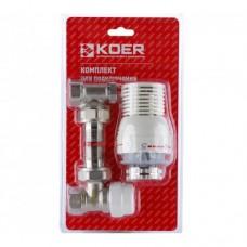 Комплект Koer 1/2'' для подключения радиатора (угловой) с термоголовкой