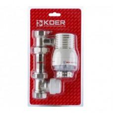 Комплект Koer 1/2'' для подключения радиатора (прямой) с термоголовкой